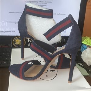 Steve Madden Carina Navy/Bur 9.5 H Heels Sandals